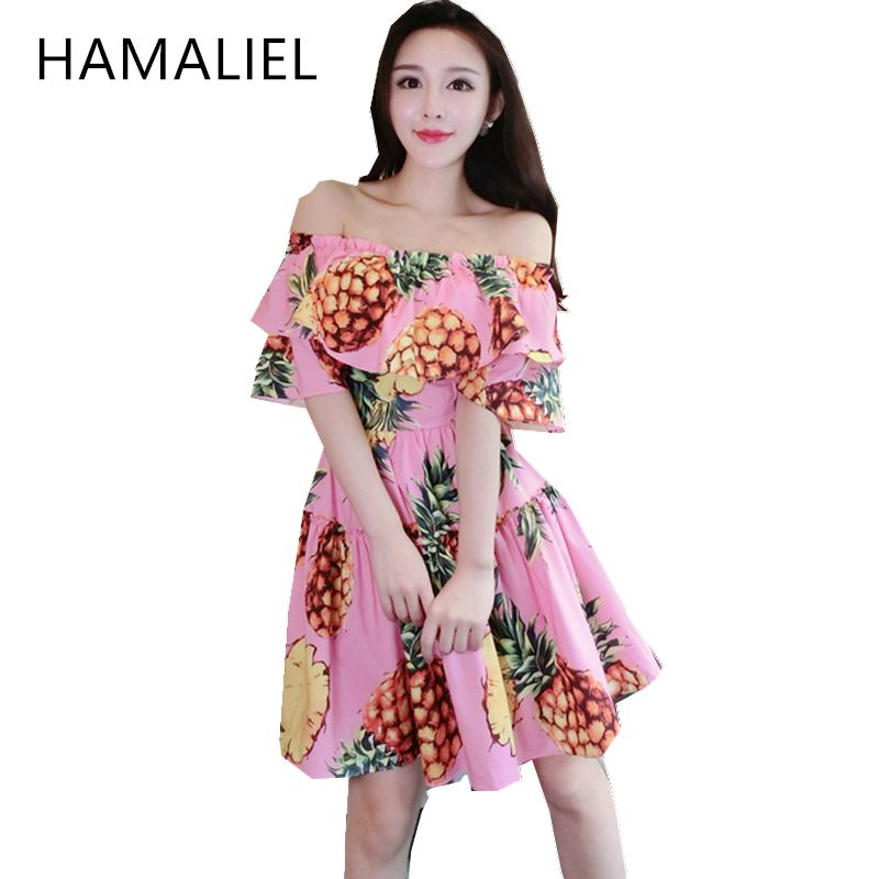 Cheap mini dress, Buy Quality women designer dress directly from China women dress Suppliers: 2017 Designer Summer Women Dress Runway Print Pineapple Off The Shoulder Ladies Ruffles Slash Neck Party Mini Dress