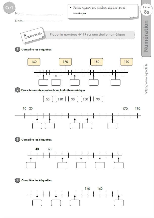 CE1-cycle2 EXERCICES CORRIGES: Placer des nombres sur une ...
