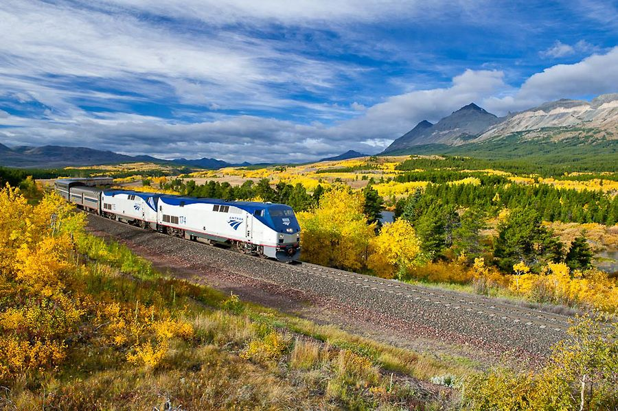 Glacier National Park Empire Builder Amtrak Train Go Away