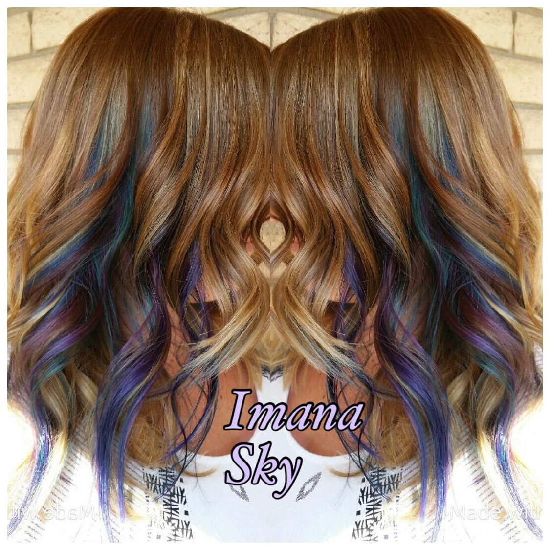 Peekaboo Highlights Purple And Teal In 2019 Hair