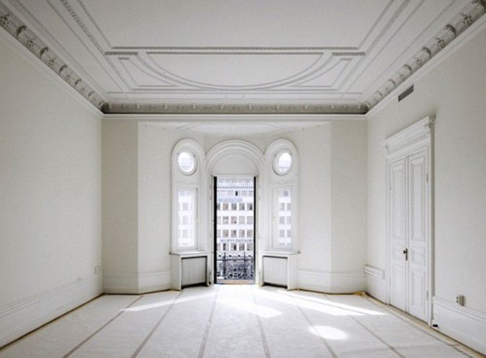 space Blank canvas  Is there anything more exciting  and intimidating    than a big  gorgeous empty room. This room could make someone feel exposed  The high  white ceiling