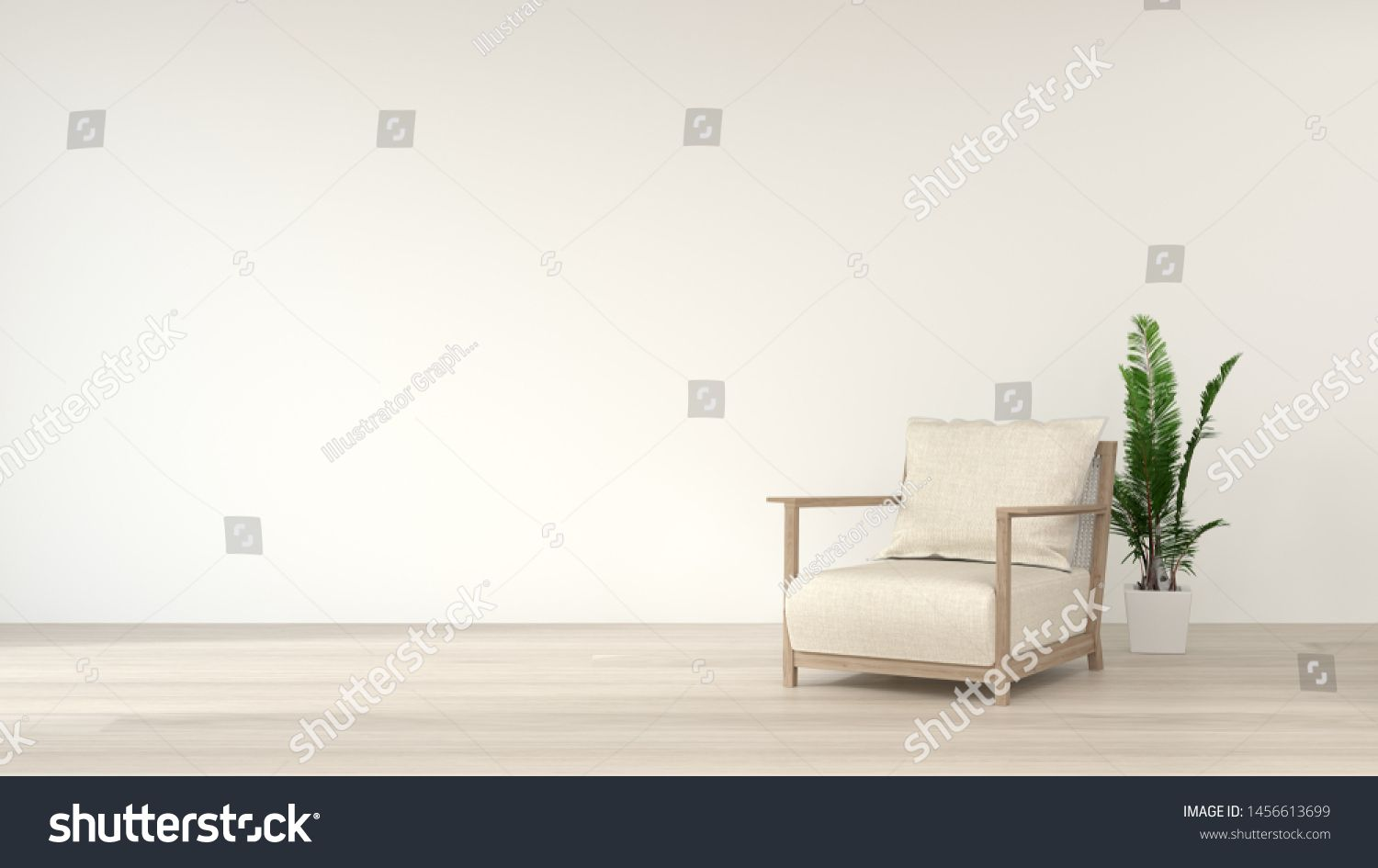 Simple Living Room White Armchair Home Interior Clean Modern Home