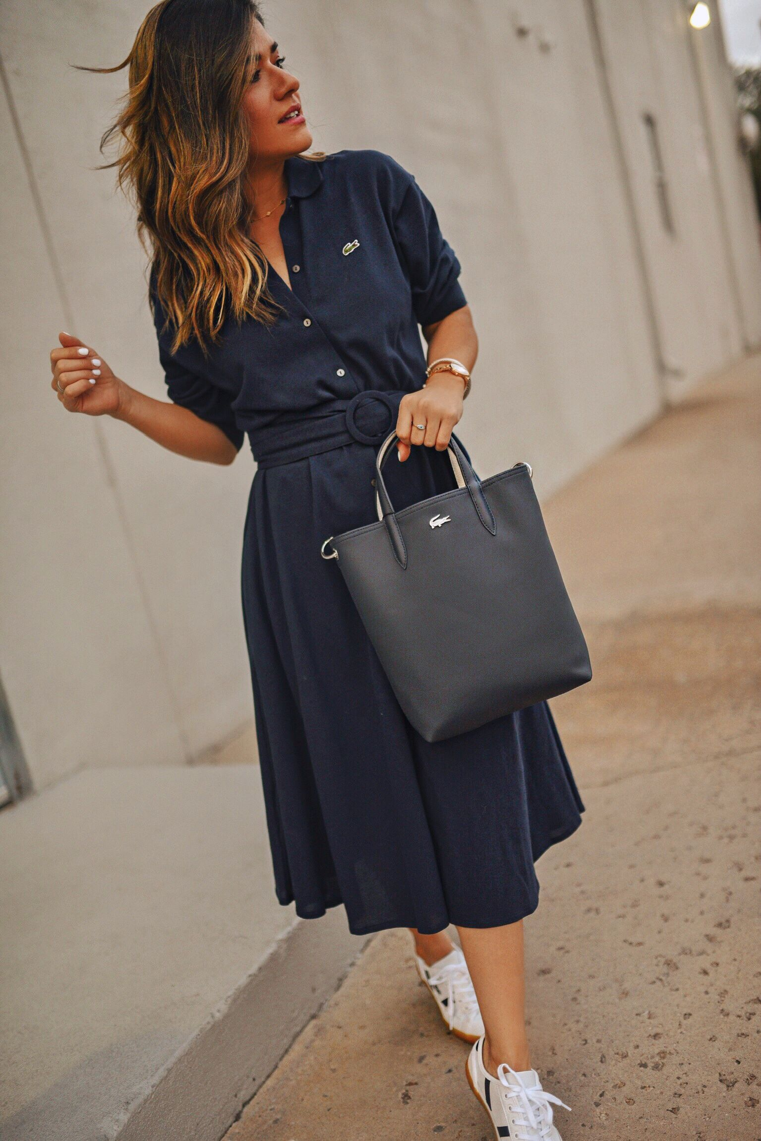 The Shirtdress Every Woman Needs In Her Closet Chic Talk Dress And Sneakers Outfit Womens Casual Outfits Sneaker Outfits Women [ 2300 x 1535 Pixel ]
