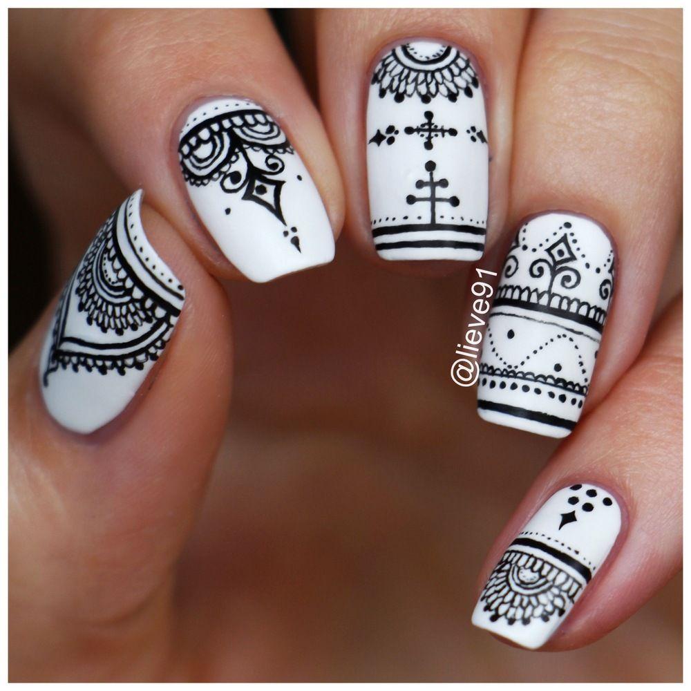 How Make Mehndi For Nails : Henna inspired nails lieve nail art pinterest