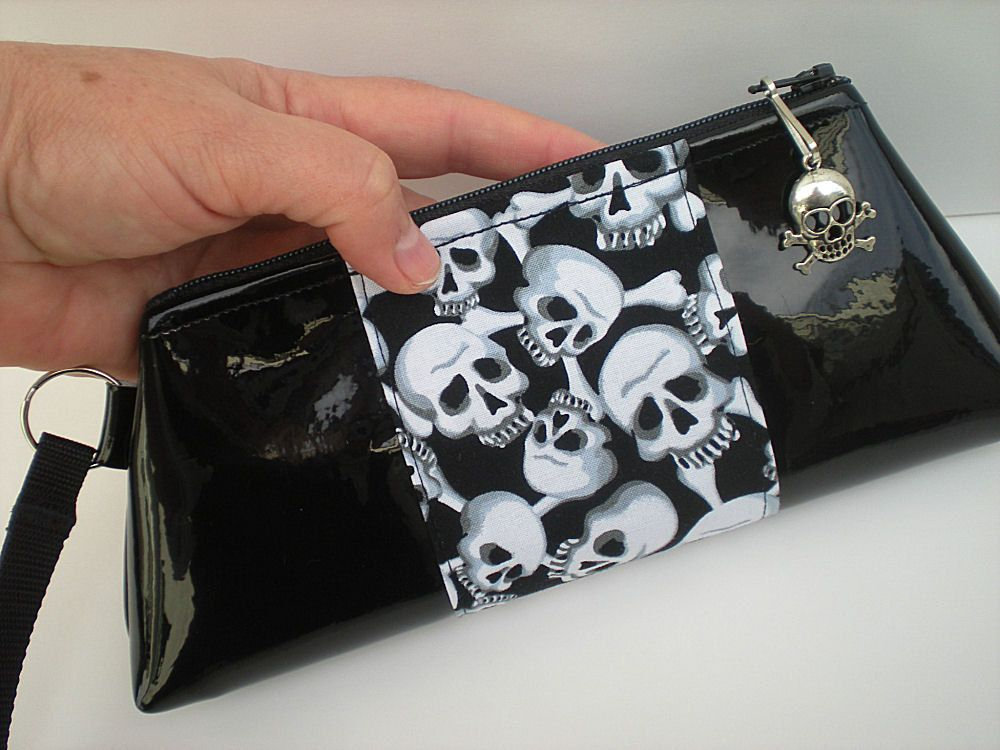 Black Skull Purse, Gothic Purse, Lolita Gothic, Rock and Roll Fashion,  Alternative Apparel, Biker Chick, Rockabilly Purse, Day of the Dead. $29.00, via Etsy.