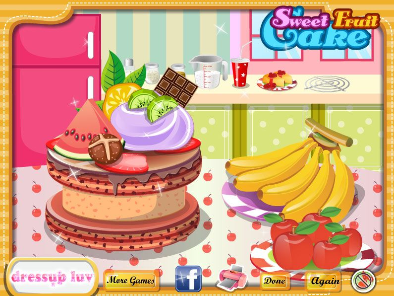 What about a surprise party for your BFF? A tasty cake is necessary. Follow me to make a tasty and beautiful cake. Fresh fruit, sumptuous chocolate, sweet cream, it is so tempting.  http://www.dressupluv.com/dressupluv/5889/play-sweet-fruit-cake.html