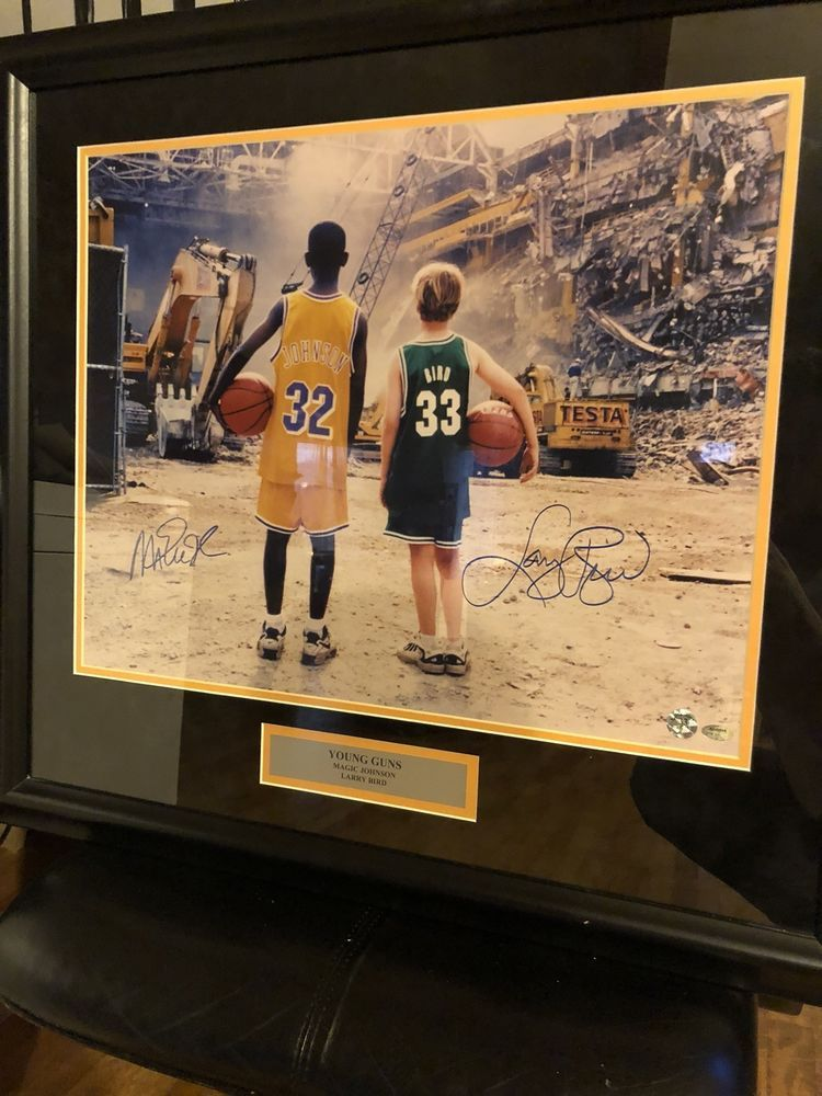 252e0b1ab0 20x30 Young Guns Magic Johnson And Larry Bird autographed basketball  memorabilia