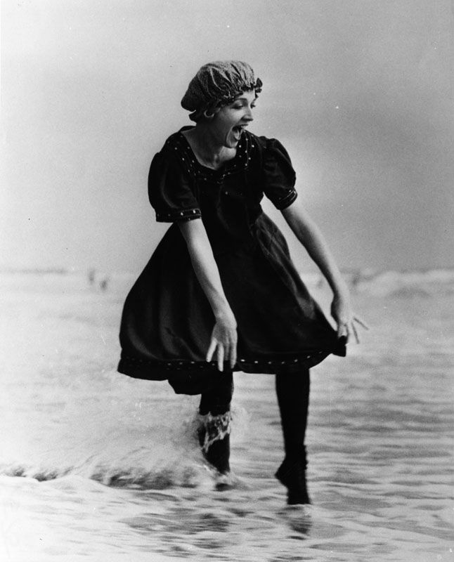 1890's bathing suit. Look closely at her face, does not look like ...