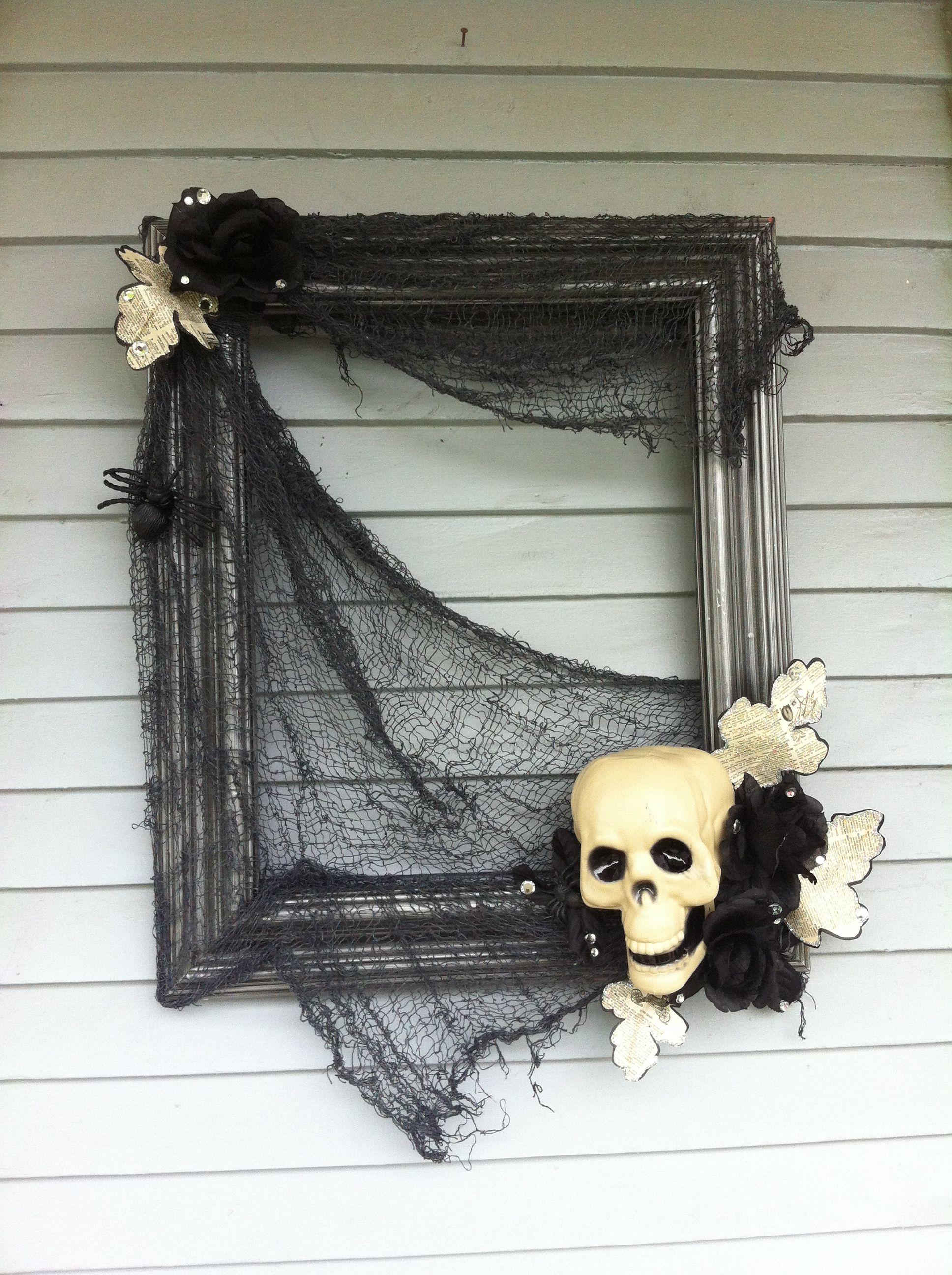 Window frame decor with wreath  halloween