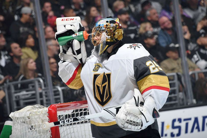 Los Angeles Ca December 28 Marc Andre Fleury 29 Of The Vegas Golden Knights Takes A Water Break During A Game Against The Marc Andre Knight Golden Knights
