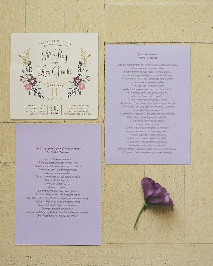 Wedding Invitation | Romantic Rome Garden wedding | Fab Mood