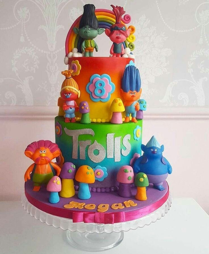 2 Birthday Cake 4th Parties 10th Trolls Party Ideas
