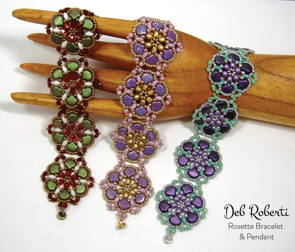 073843cdedf9dc Rosette Bracelet & Pendant beaded pattern tutorial by Deb Roberti ...