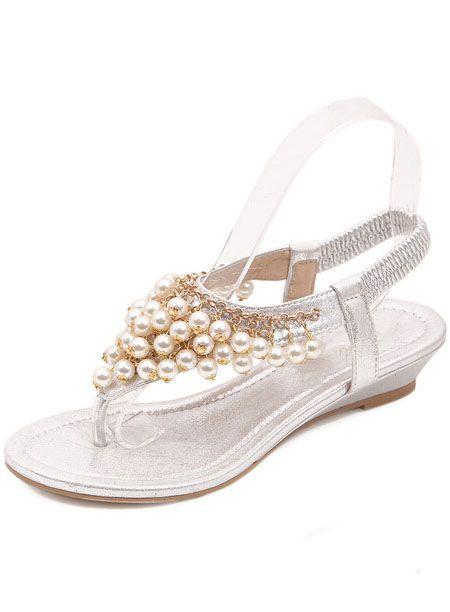 8508c7482b25 Zehentrenner Sandalen mit Perlen besetzt-weiß 13.50   Schuhe ...