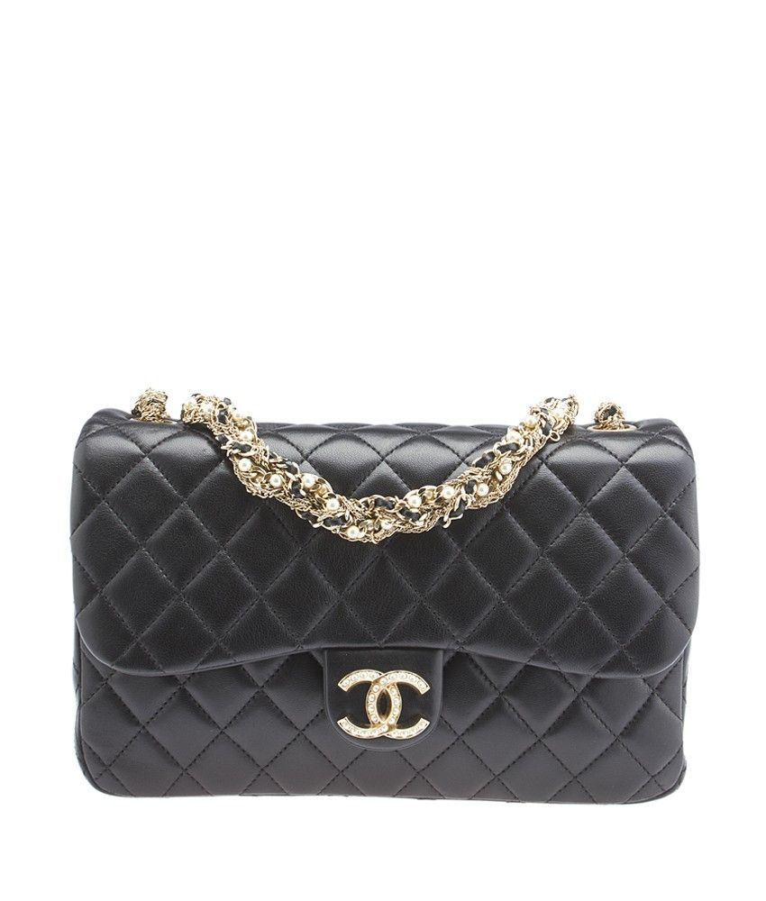 8a869b633a8d Chanel Westminster Pearl Black Quilted Lambskin Leather Shoulder Bag ...