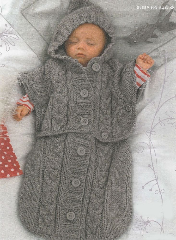 Knitting Pattern-Chunky Baby Sleeping Bag - Converts to Hooded ...