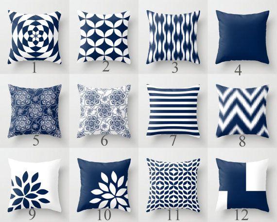 Azul azul almohadas fundas decorativas azul marino cojines