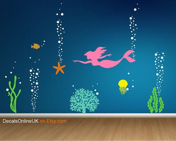 Sea Life Wall Decal Mermaid Wall Decal Sealife Wall Sticker