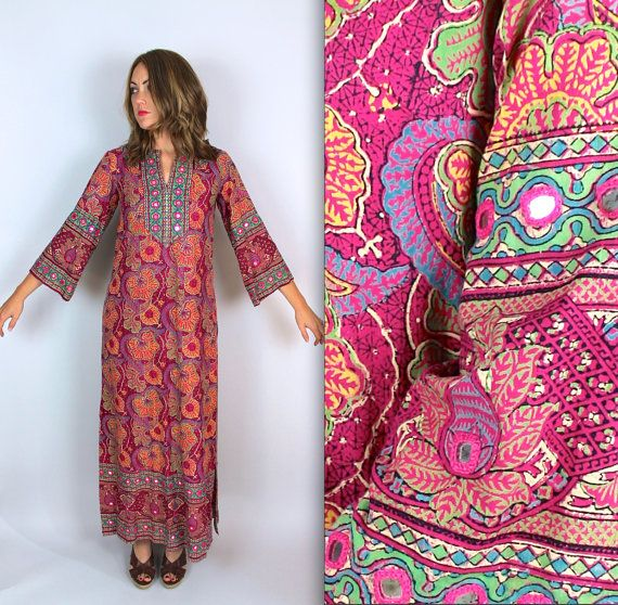 vtg EMBROIDERED 60s Pakistani MIRRORED CAFTAN cotton by FOXCROW