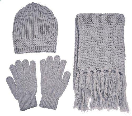 Women's Plaid Fleece Winter Set Black and Gray Gloves Hat Scarf Warm Apparel