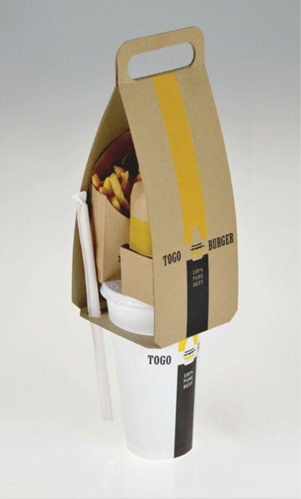 Essa embalagem da Togo Burger é um exemplo super criativo de como carregar fast…