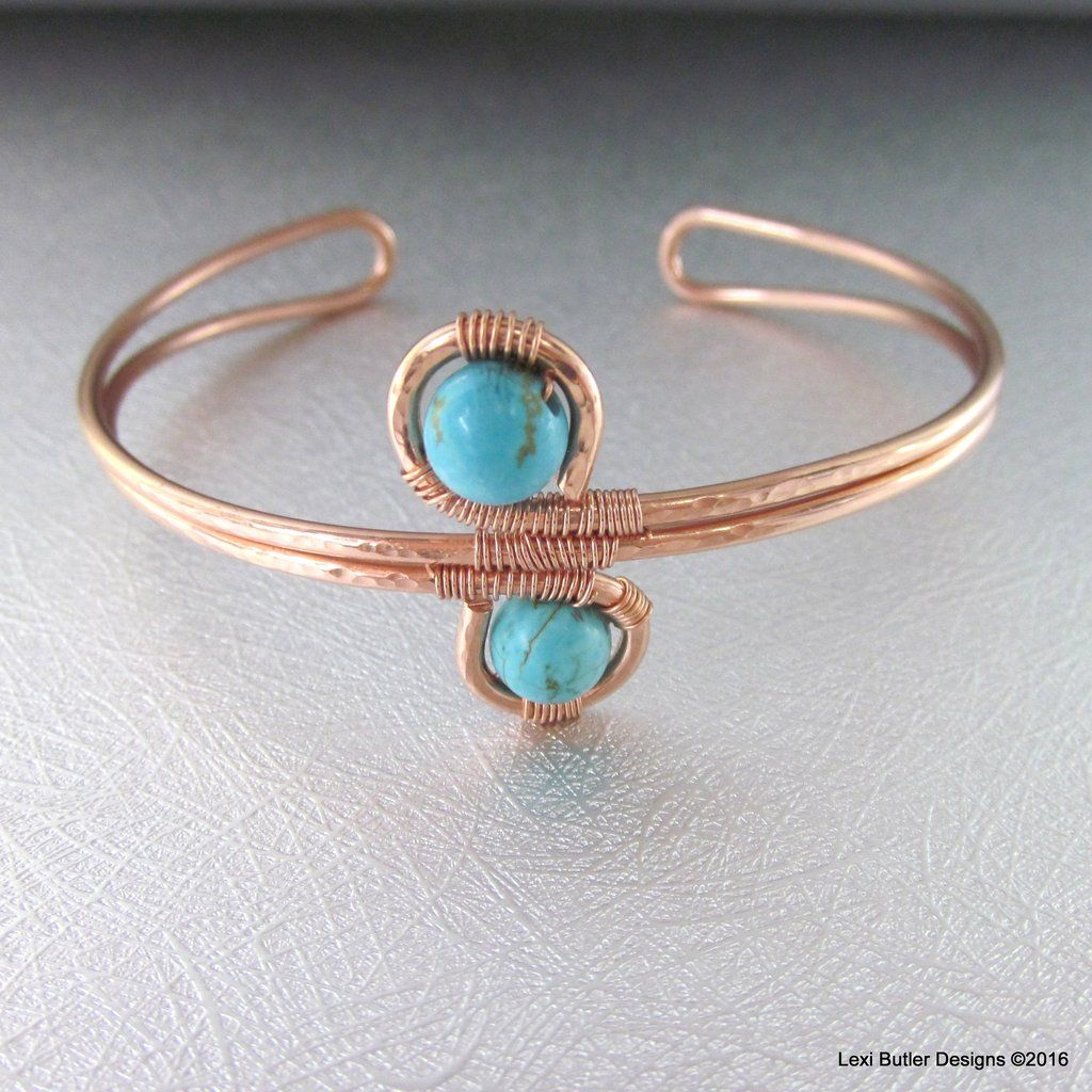 Adjustable Copper Turquoise Wire Wrap Bangle | Wire Work | Pinterest ...