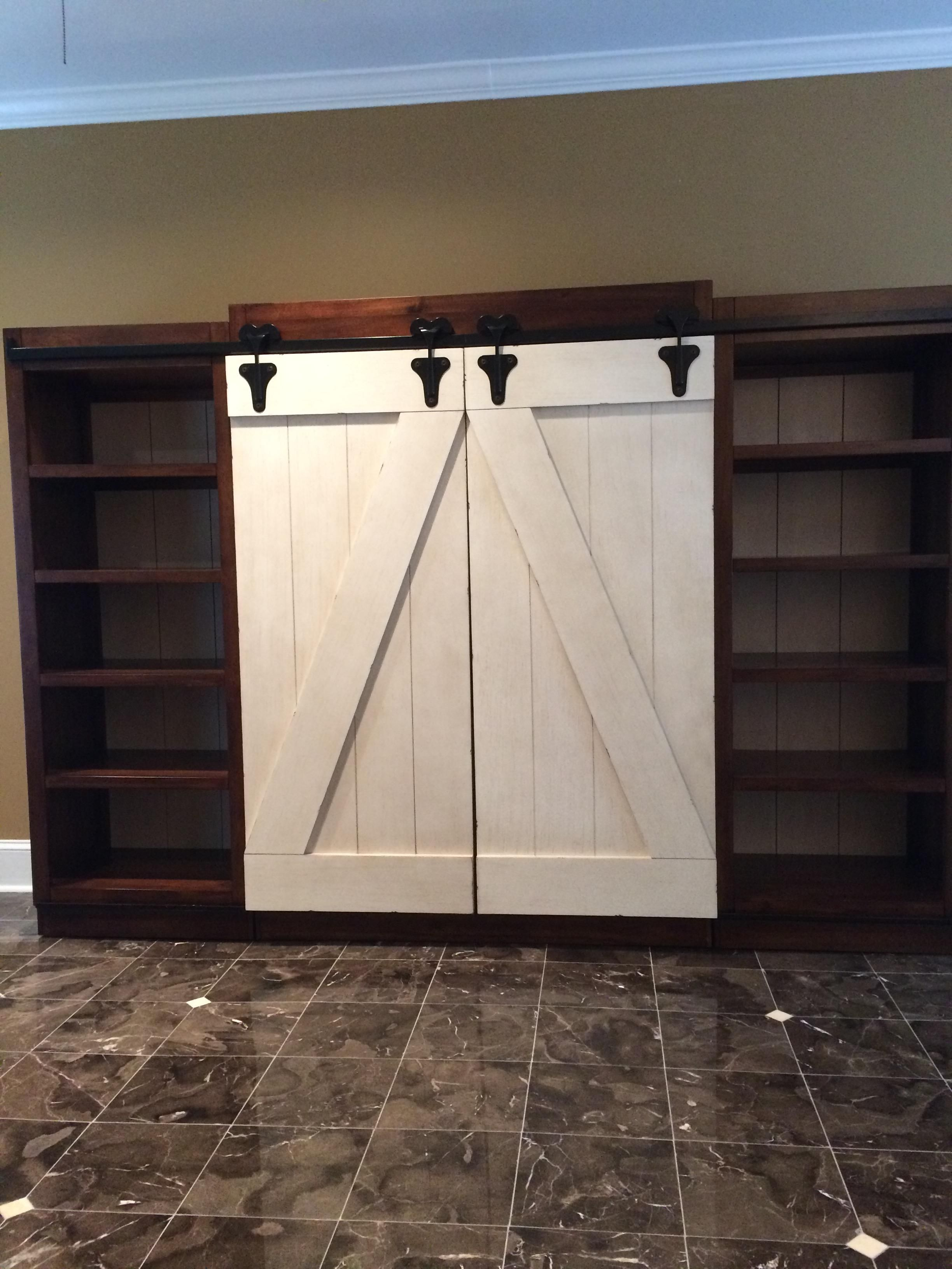 Lancaster Antique White And Brown Entertainment Wall Unit