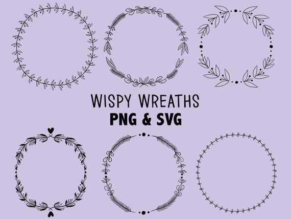 Photo of WISPY WREATHS, hand-drawn wreaths, doodle clipart, rustic, drawn wreaths, png, svg, vector wreaths, wedding, laurels