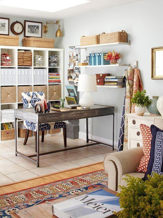eclectic home office. Eclectic Home Office With Ballard Designs Gentry Chair Brass Nailheads, Ikea Kallax Shelving, Monroe Swing Arm Wall Lamp T
