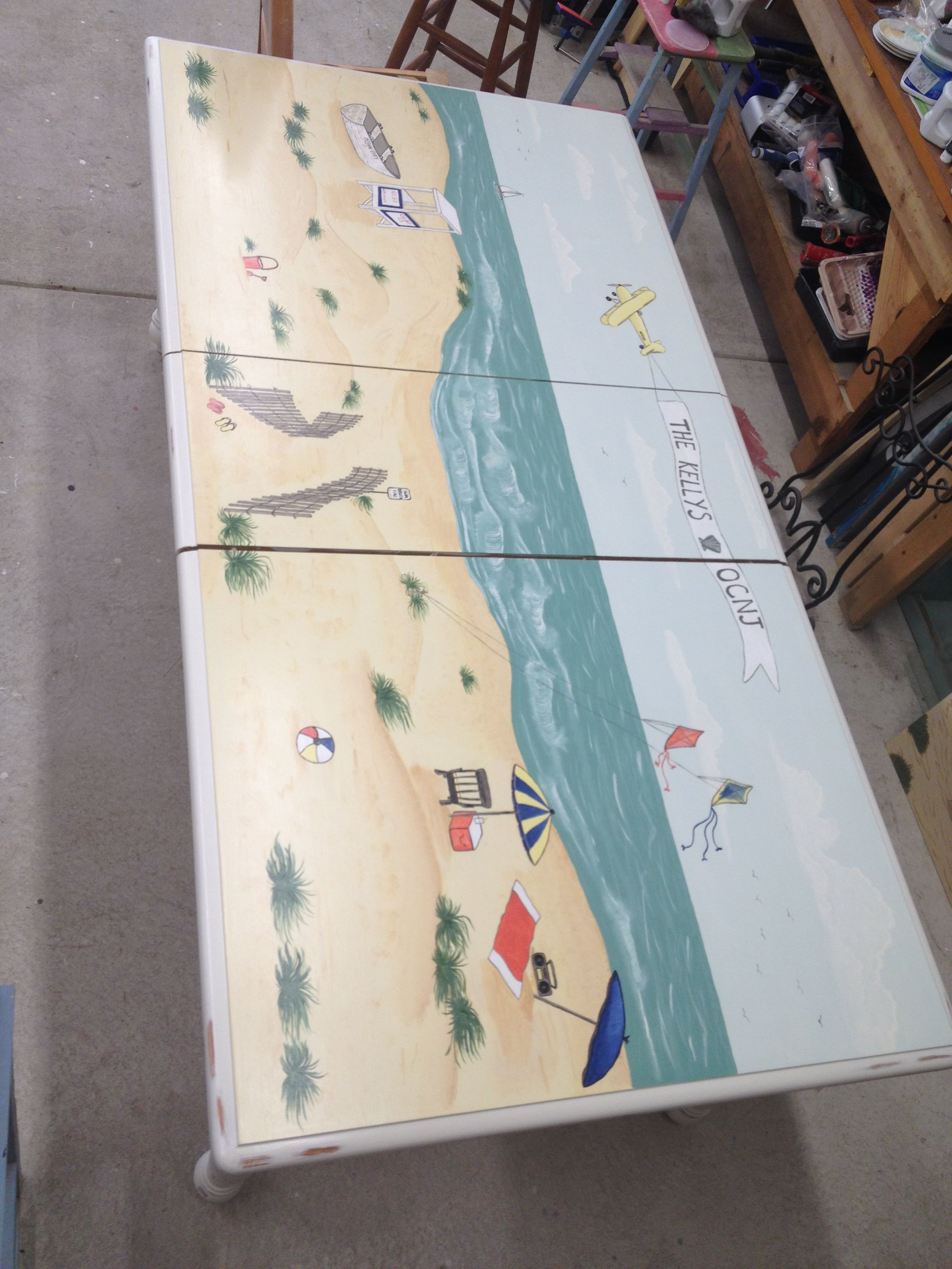 Hand Painted Beach Scene Table  By RL Coastal Concepts In Ocean City NJ