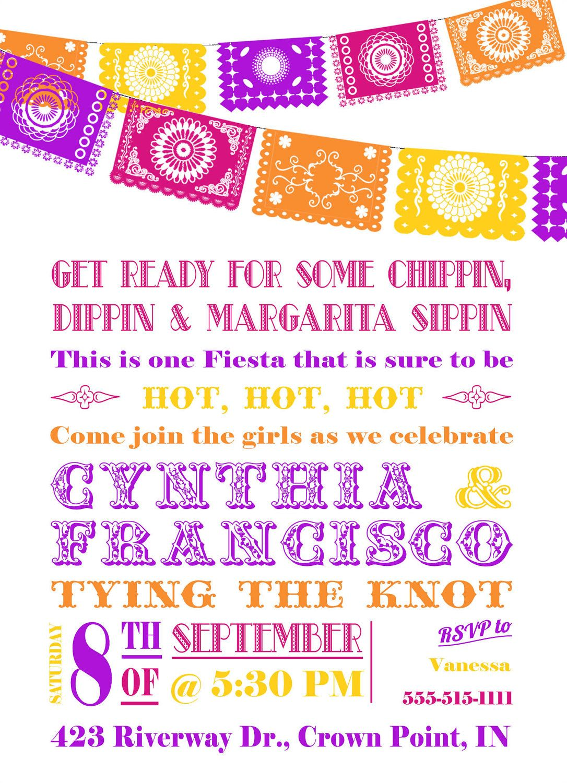 f0a9782c553a Bridal Shower Fiesta Invitation - Papel Picado Bunting.  16.00