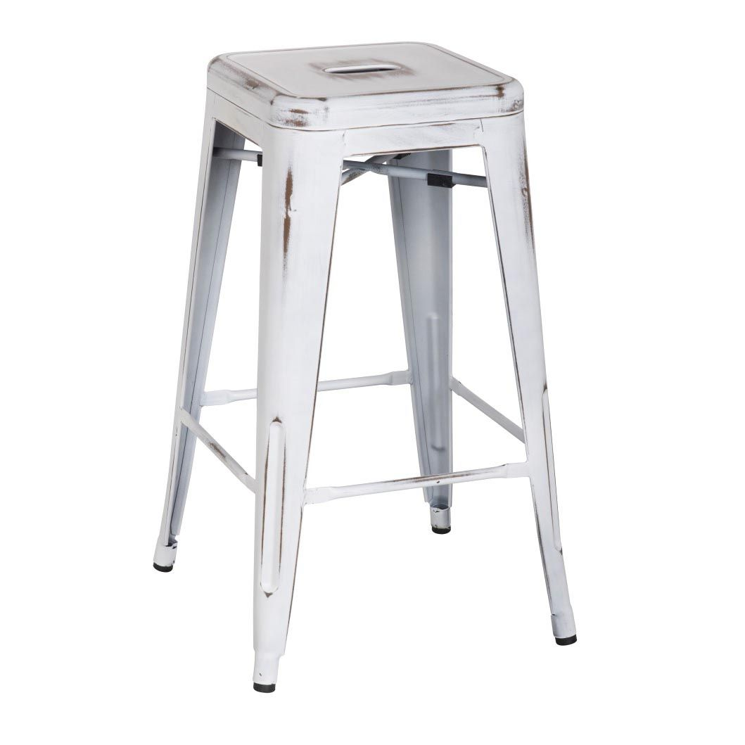 Metropolis Metal Backless Counter Stool Distressed White