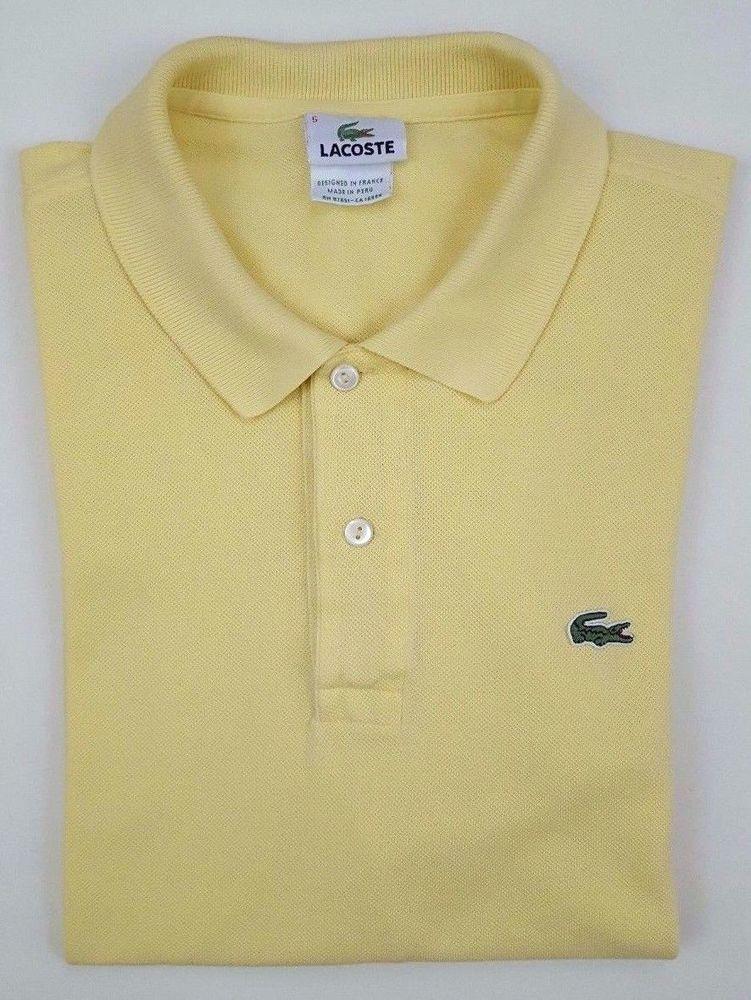 7d7e5965 LACOSTE Size 5 POLO Shirt YELLOW Cotton GATOR Croc LOGO Mens SIZE ...