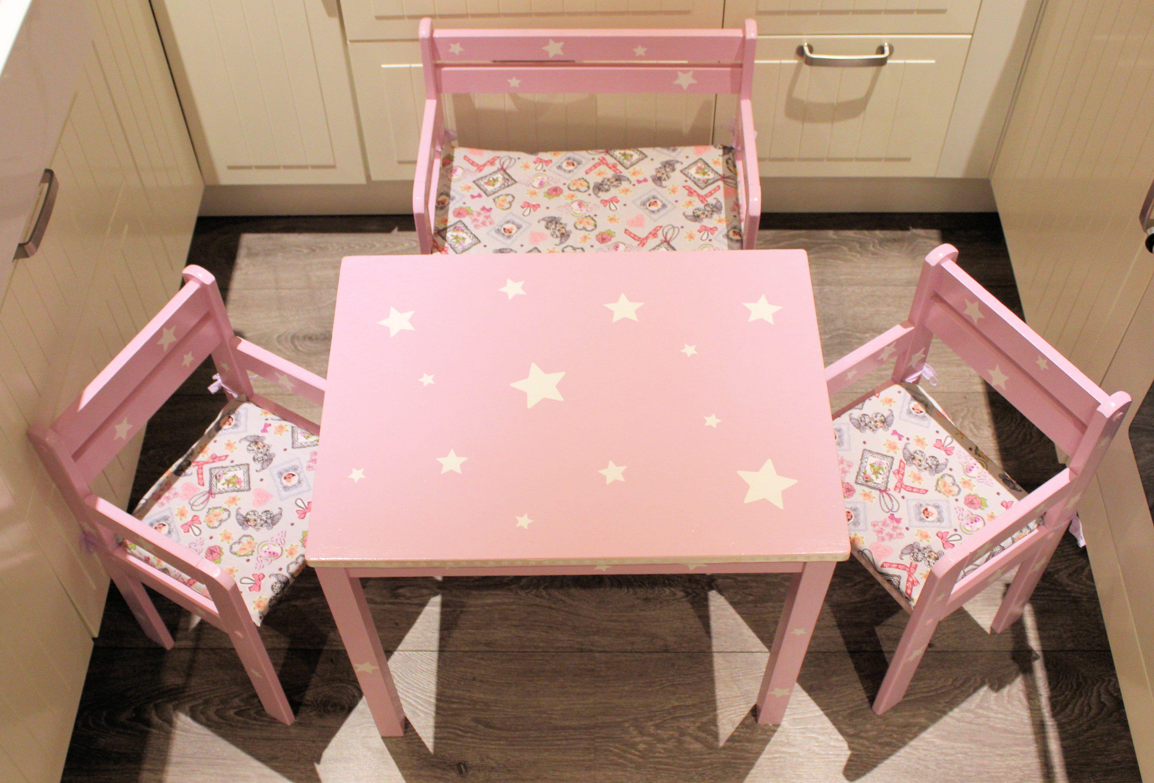 Kindersitzgruppe Rosa Sterne Shabby Kindersitzgruppe