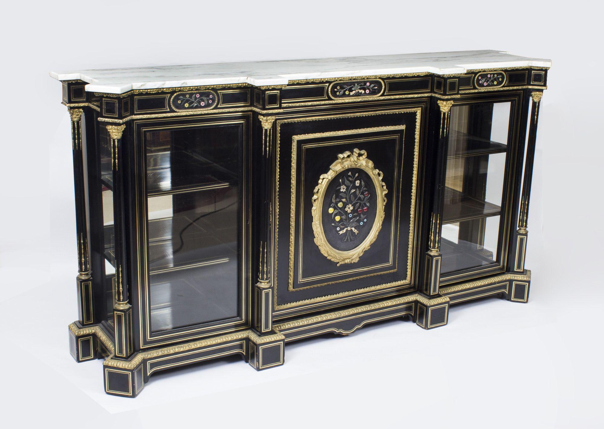 Credenza Con Tope De Marmol : Sideboards antique napoleon iii pietra dura ebonised credenza c