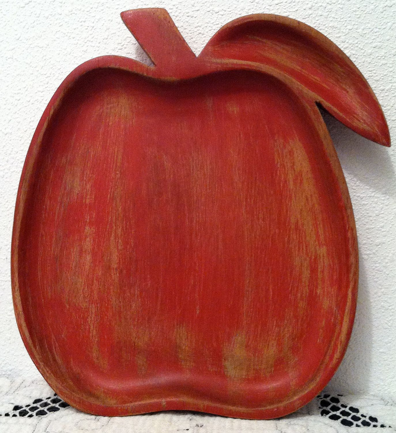 Pretty Red Wooden Apple Tray, Vintage Kitchen, for Food Photography ~ from Etsy