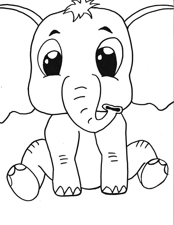 Baby Elephant Printable Coloring Page Kids Coloring Instant
