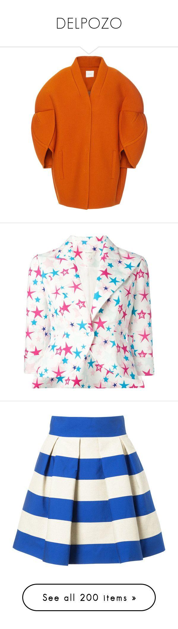 """DELPOZO"" by bliznec-anna ❤ liked on Polyvore featuring outerwear, coats, delpozo, coats & jackets, jackets, orange, cocoon coat, puff sleeve coat, orange coat and blazers"