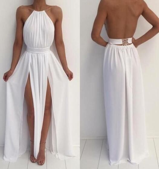 White Chiffon Front Silt Casual Style Backless Halter Top: Chiffon Prom Dress,Sexy Prom Dress,Charming Backless Prom