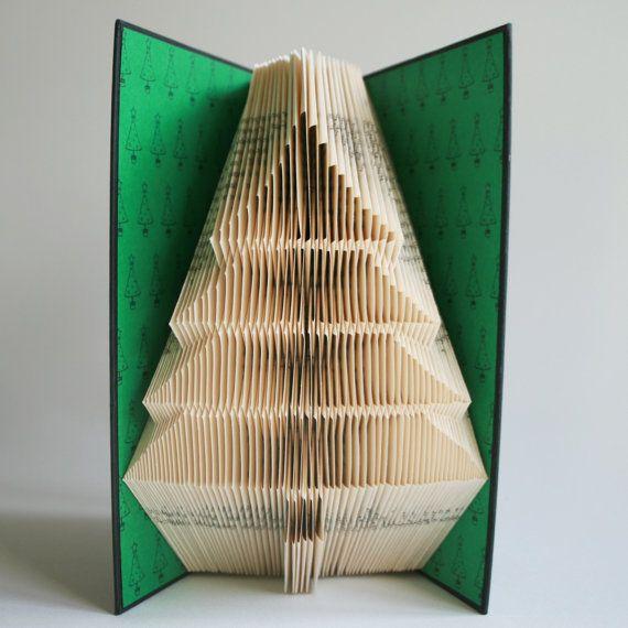 Christmas Tree Book Folding Pattern 2 Looks Free Printable Etsy In 2020 Book Folding Book Folding Patterns Book Art
