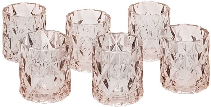 Amazon Com Koyal Wholesale 3 Tall Blush Pink Modern Multifaceted Glass Candle Holders Set O Glass Tea Light Holders Glass Candle Holders Table Setting Decor