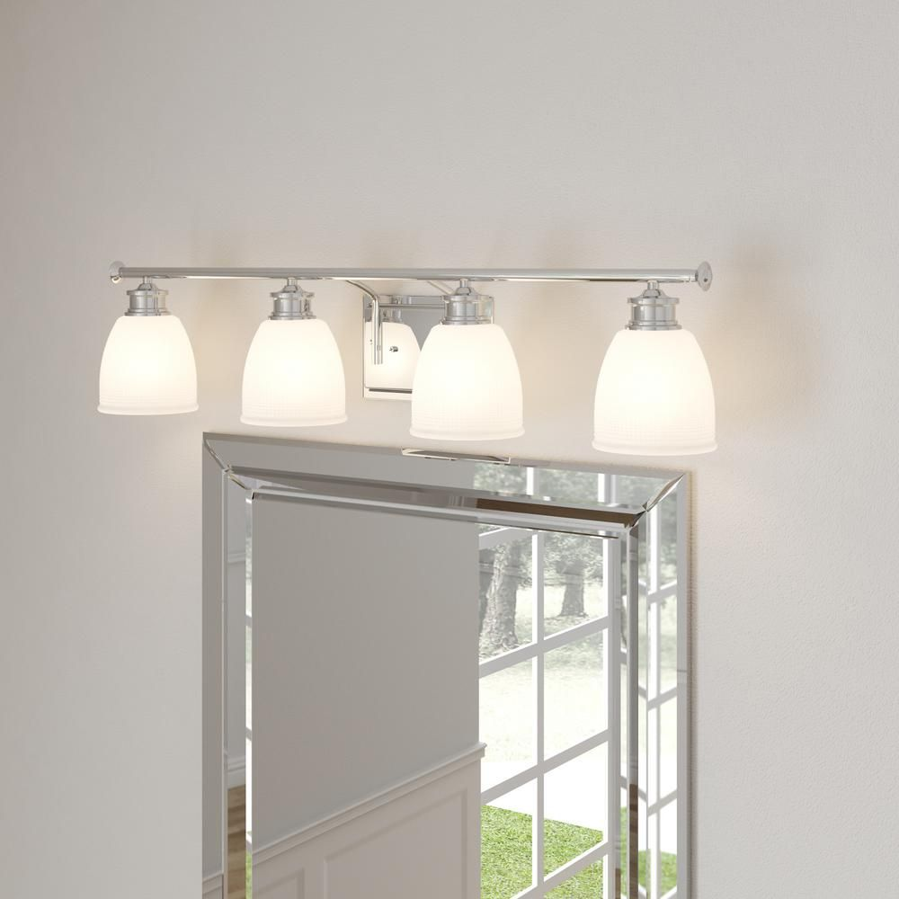 Progress Lighting Lucky Collection 33 56 In 4 Light Polished Chrome Bathroom Vanity Light With Glass Shades P2182 15di The Home Depot Vanity Lighting Brass Vanity Light Chrome Bathroom