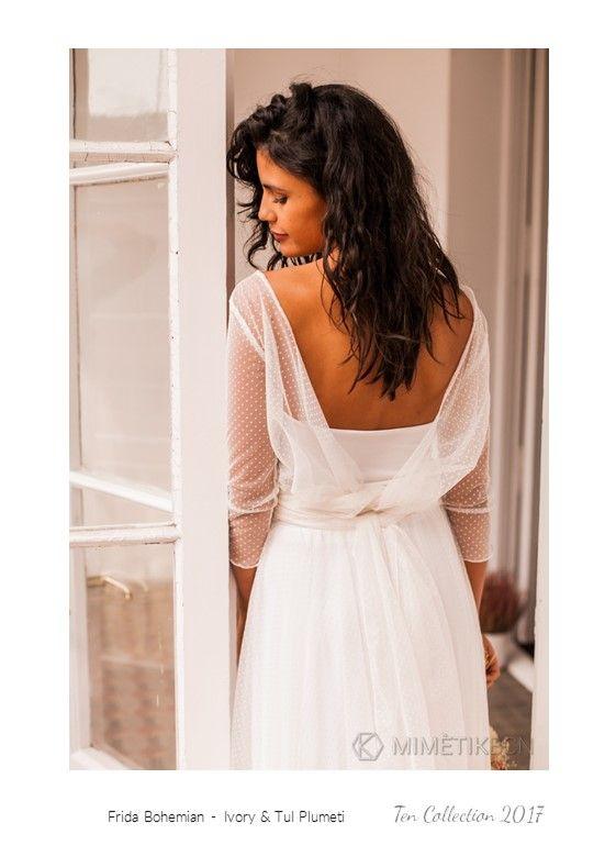 vestido de novia plumeti con cuerpo y falda de tul - frida bohemian