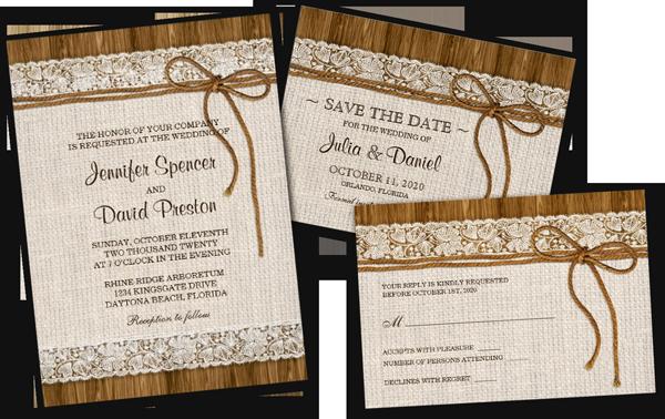 Rustic Burlap Lace Wedding Reception Invitation