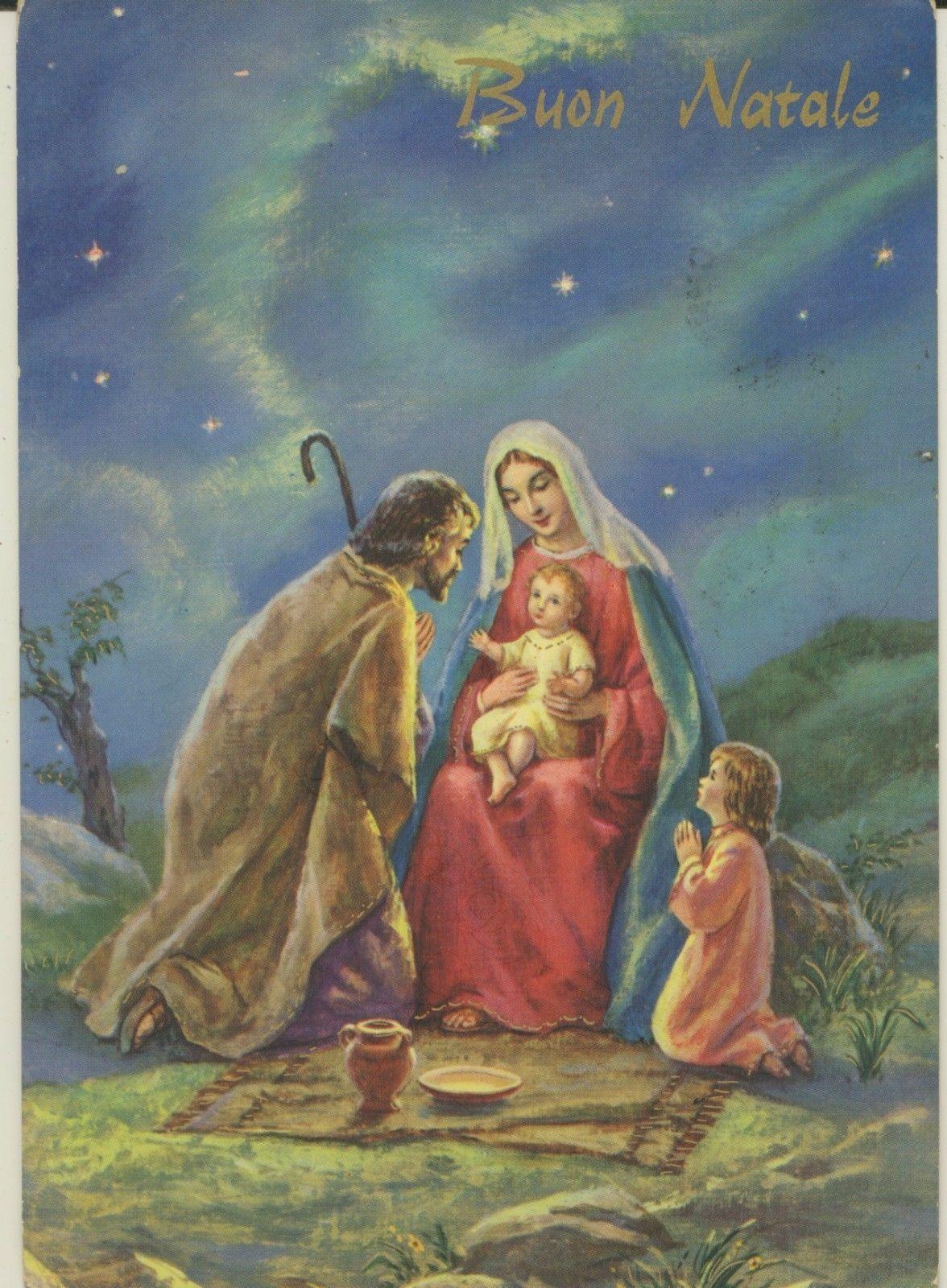 Immagini Sacre Natale.Cartolina Illustratore Augurale Buon Natale Sacra Famiglia