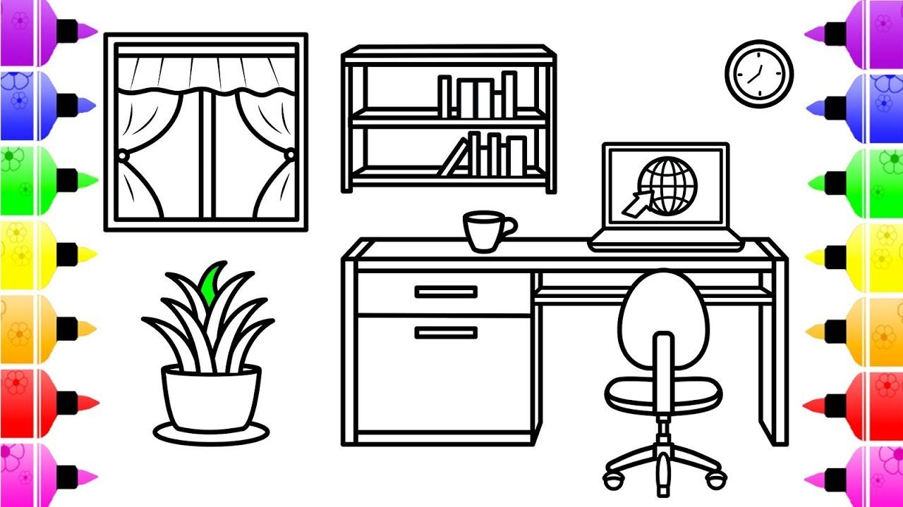 How To Draw An Office Room For Kids Coloring Page For Kids With
