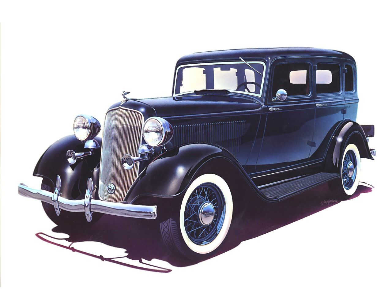 Cars 1933 plymouth pd 4 door sedan with dual horns art for 1933 dodge 4 door