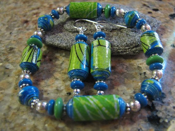 lime green and blue paper beaded stretch bracelet by TheSilverMoon, $26.00