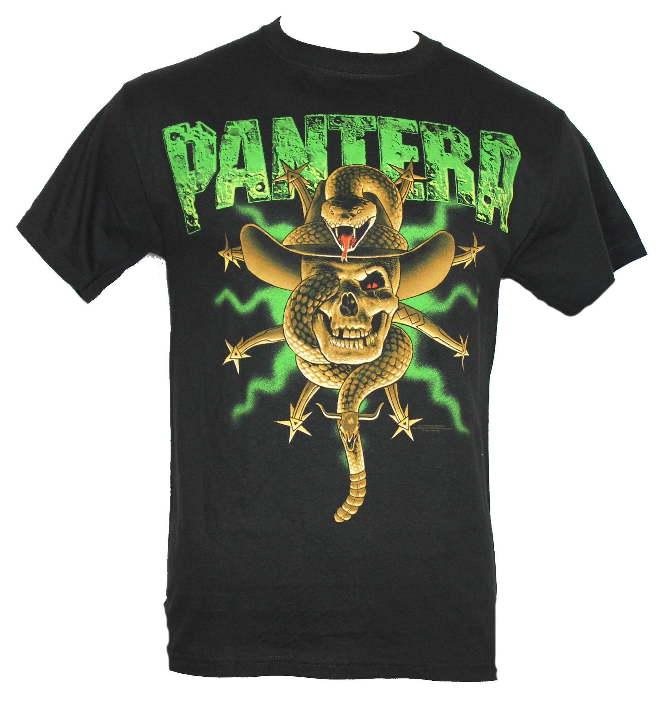 6aaed4678 Pantera Mens T-Shirt - Cowboy Hat Snake Wrapped Image (Small) Black ...