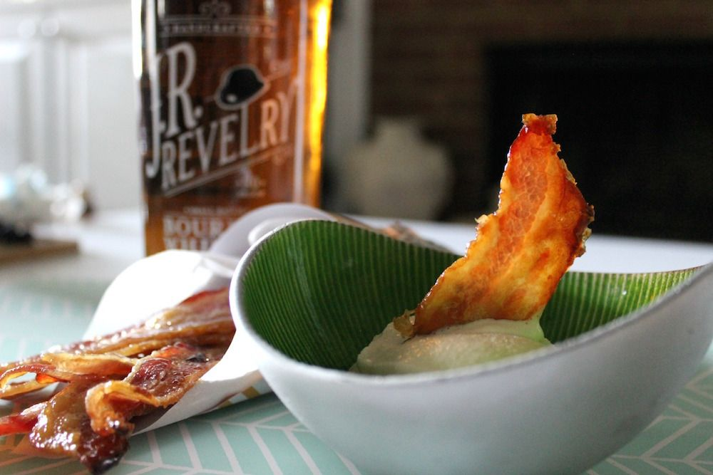 J.R. Revelry Bourbon Candied Bacon with Caramel Ice Cream